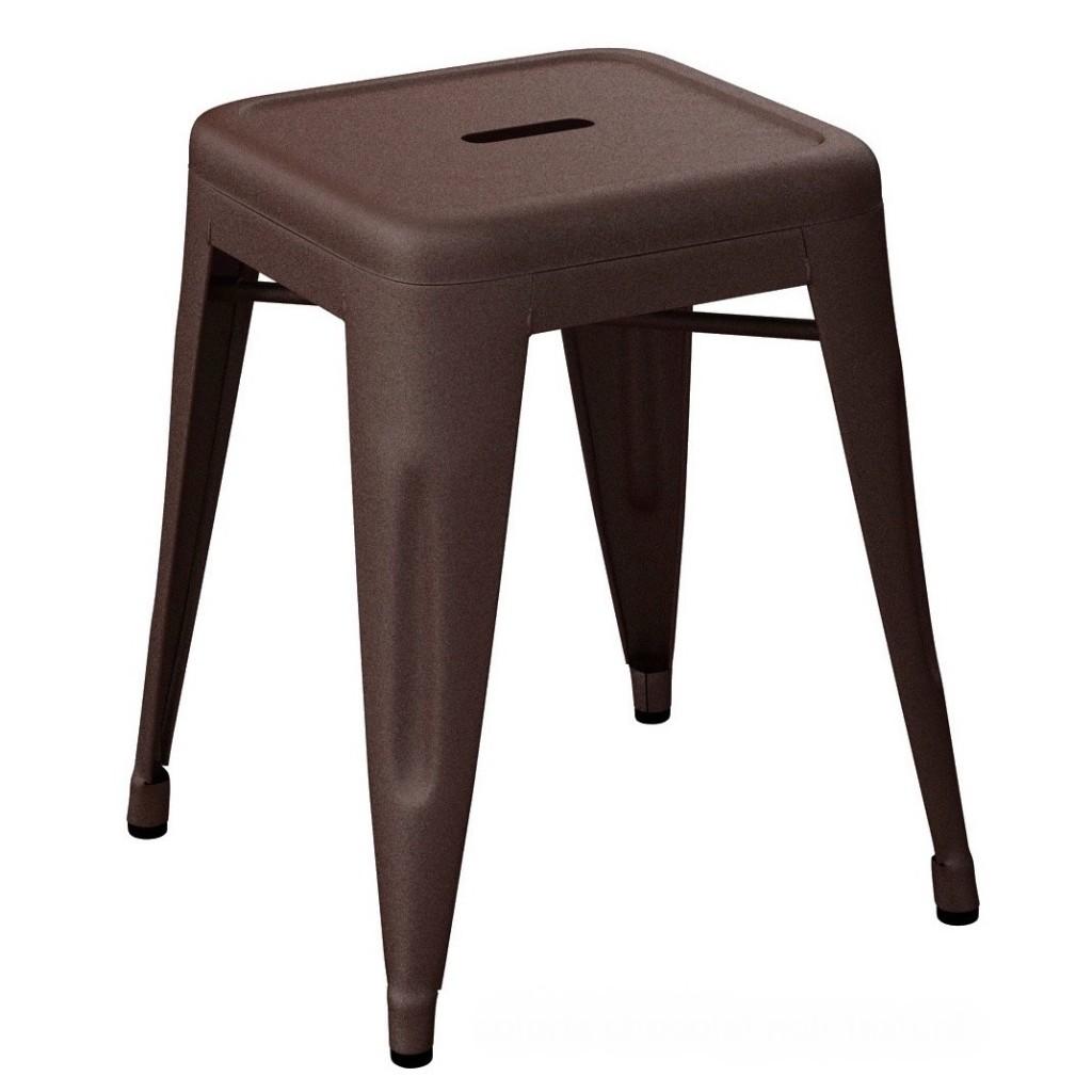 Tabouret H45 - Mat texturé - Tolix - Chocolat noir