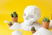 TETE DE MORT ORIGAMI - Blanc