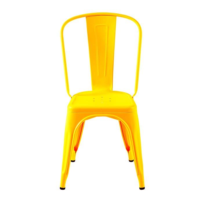 Tolix présente une chaise jaune citron, ce coloris énergique amènera de la gaieté  dans votre intérieur. La finition de cette chaise est mat.