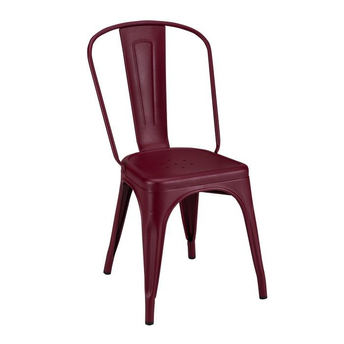 Nouvelle teinte chez Tolix avec le Bourgogne. Voici la chaise A en bourgogne mat texturé.