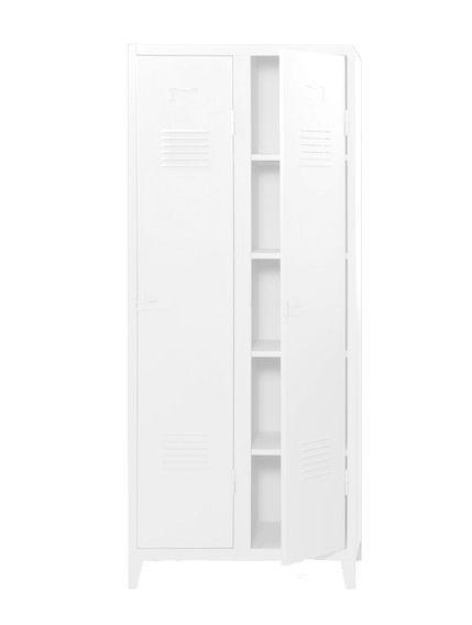 Vestiaire B2 haut étagères & penderies - Mat texturé - Tolix - Blanc