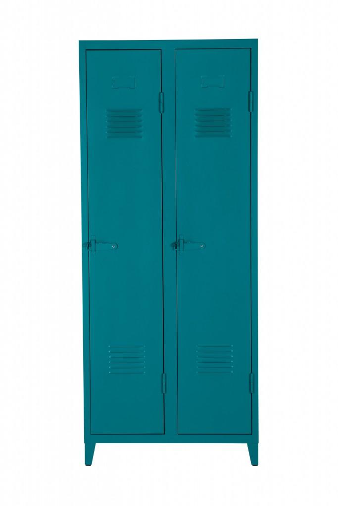 Vestiaire B2 haut étagères & penderies - Mat texturé - Tolix - Vert canard