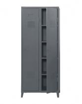 Vestiaire B2 haut étagères & penderies - Mat texturé - Tolix - Gris souris