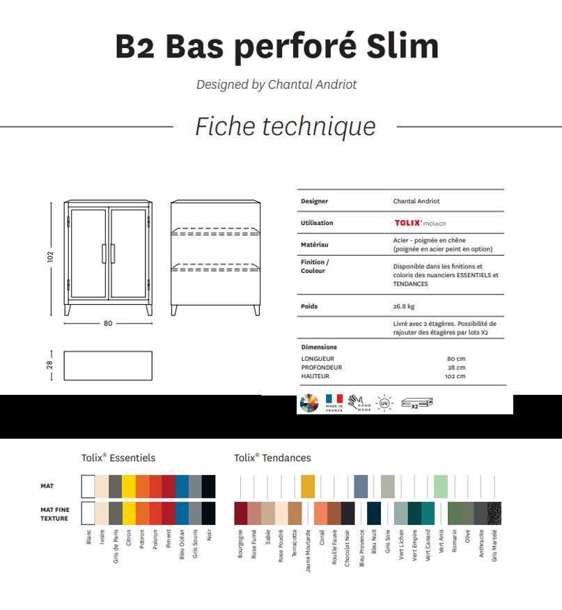 Vestiaire B2 bas Slim perforé  - Texturé - Tolix
